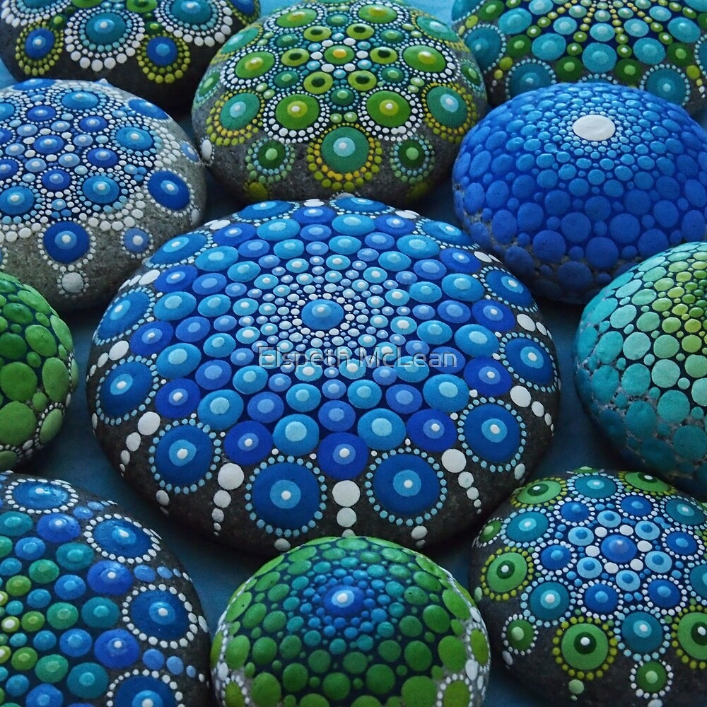 Cool Rocks And Stone : Quot cool tone mandala stone collection by elspeth mclean