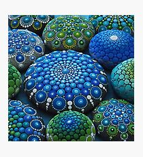 Cool Tone Mandala Stone Collection Photographic Print