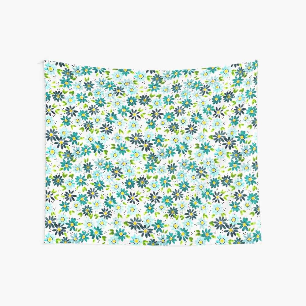 Teal Daisies Wall Tapestry