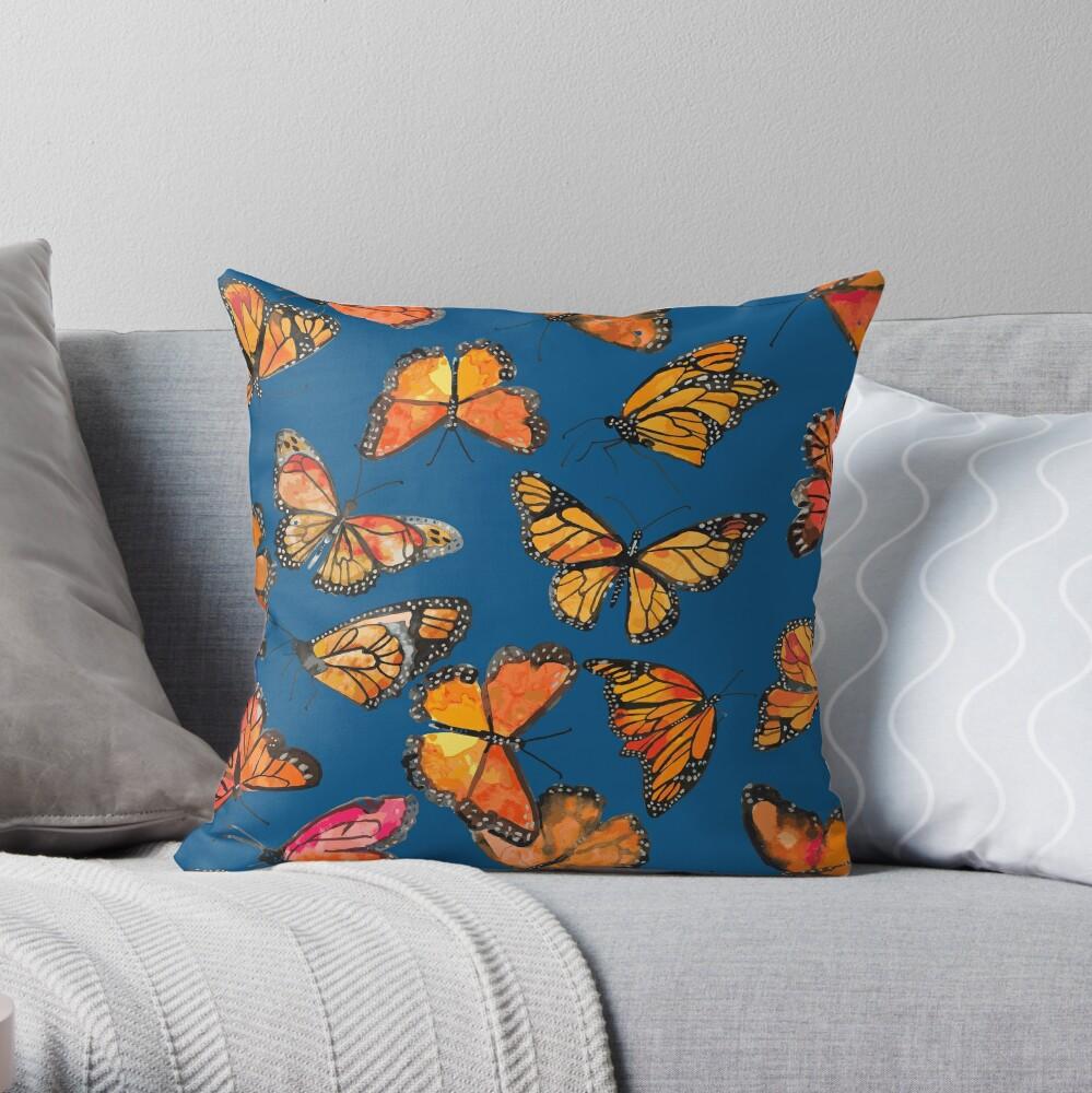 Monarch Butterflies Fly Throw Pillow