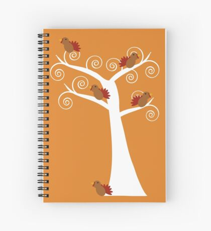 Five Thanksgiving Turkeys in a Tree Spiral Notebook