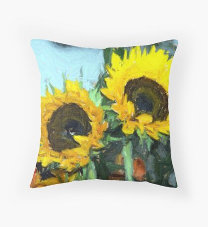la peinture impressionniste de tournesol Throw Pillow