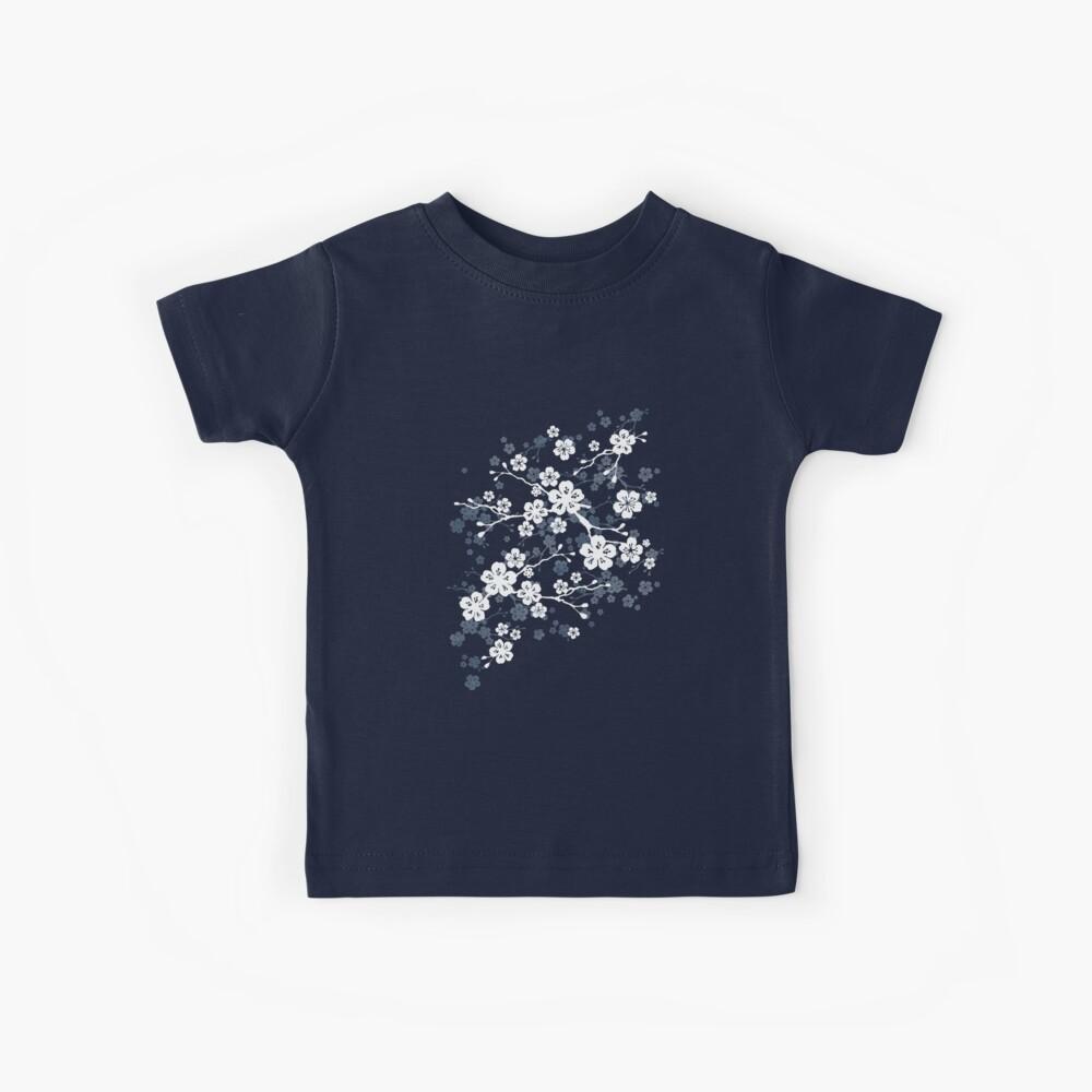 Navy and white cherry blossom pattern Kids T-Shirt