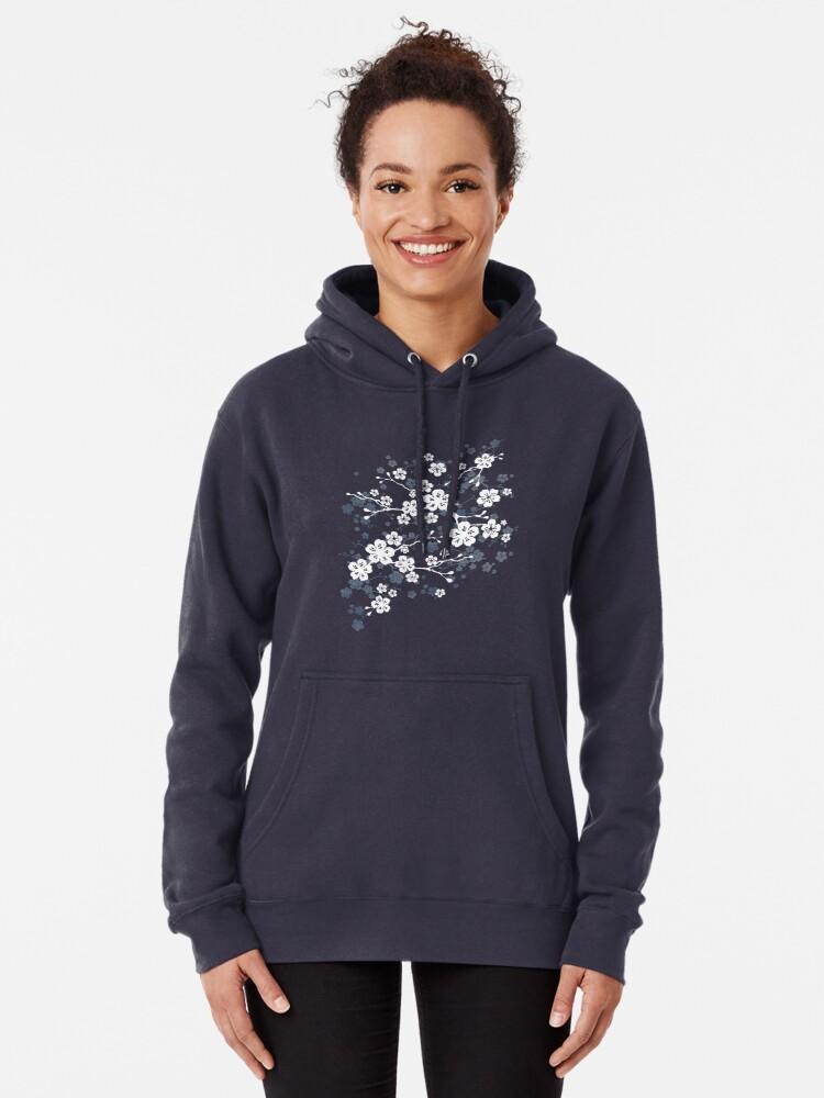 Alternate view of Navy and white cherry blossom pattern Pullover Hoodie