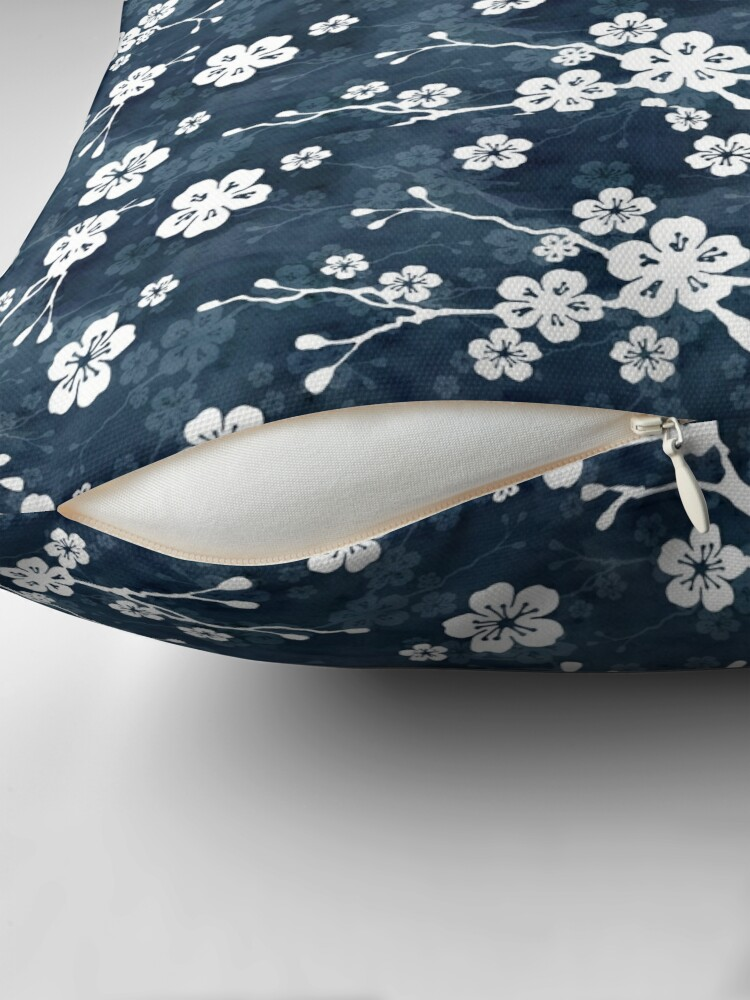 Alternate view of Navy and white cherry blossom pattern Floor Pillow