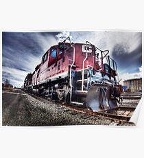 Red Engine, Stormy Sky Poster