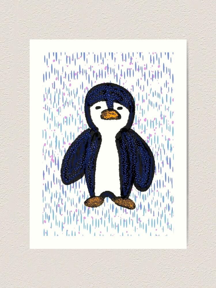 Alternate view of Batik Sad Penguin Art Print