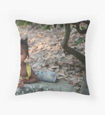 Cambodia Child Throw Pillow