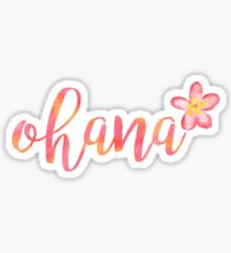 Ohana Hawaii Plumeria Watercolor Floral Sticker