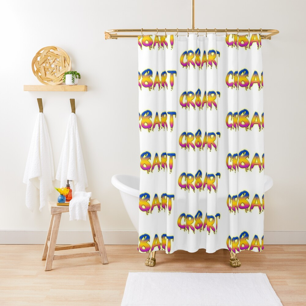 Create Art! - Blue, Yellow, Pink on White Shower Curtain