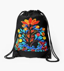 Fire and Water Flower Drawstring Bag
