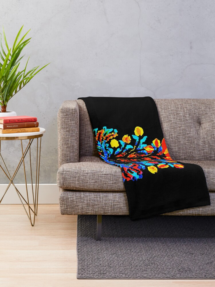 Alternate view of Fire and Water Flower Throw Blanket