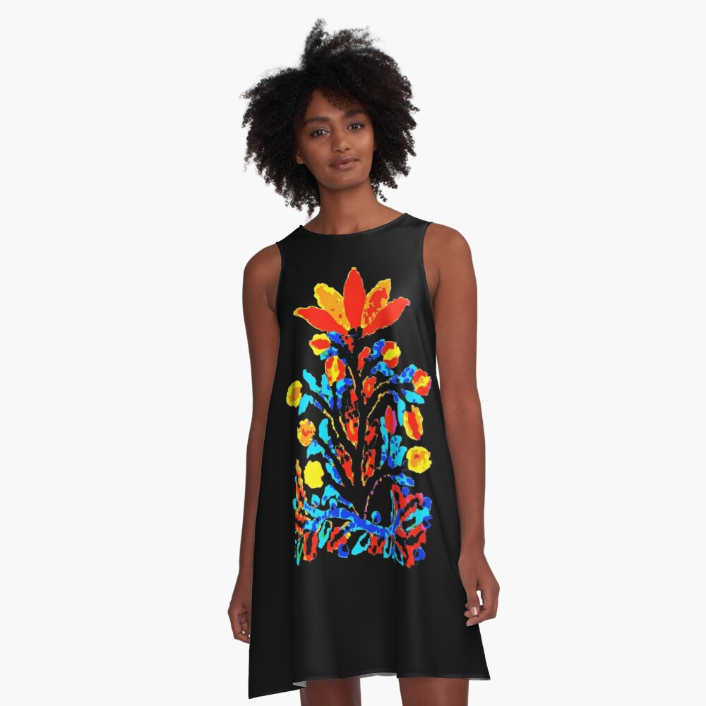 Fire and Water Flower A-Line Dress