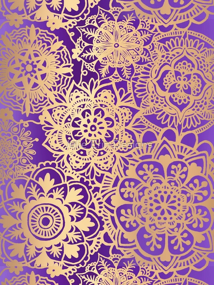 Purple and Gold Mandala Pattern by julieerindesign
