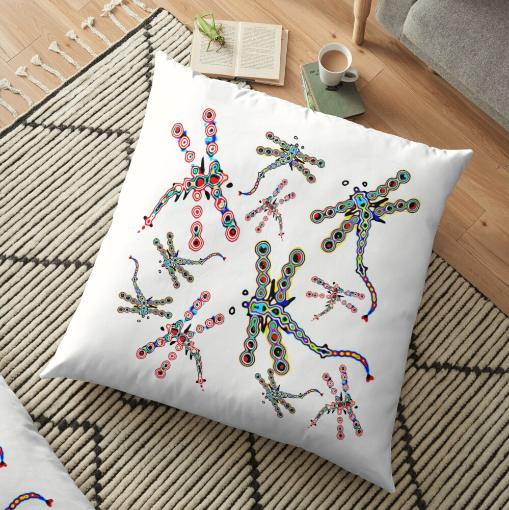 Electric Dragonfly Dreams Floor Pillow