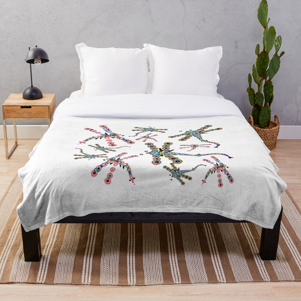 Electric Dragonfly Dreams Throw Blanket