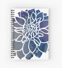 Blue Watercolor Dahlia Spiral Notebook