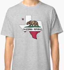 Camiseta clásica Texas esbozar la bandera de California