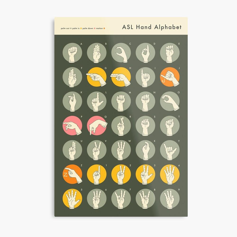 ASL HAND ALPHABET Metal Print