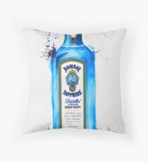 Bombay Sapphire Gin Bottle Throw Pillow