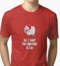 Camiseta de tejido mixto All I want for Christmas is ewe
