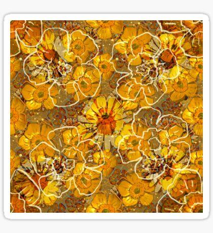 Floral Retro Buttercups Glossy Sticker