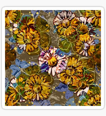 Floral Retro New Daisies Glossy Sticker