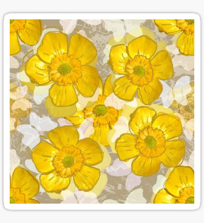 Floral Retro Gold Buttercups Glossy Sticker