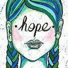 "Inspirational ""Hope"" Woman Face Blue Hair Braids by BarefootDoodles"