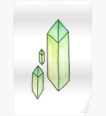 Floating Green Crystals Poster