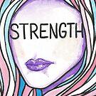 "Inspirational ""Strength"" Woman Face  by BarefootDoodles"