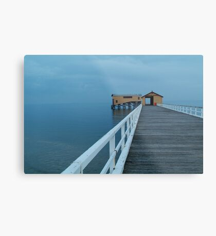 Twilight Mist, Queenscliff Pier Metal Print