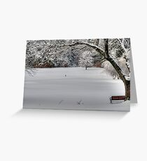 Snow on the 1st Tee Greeting Card
