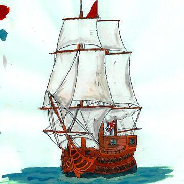 Tall ship by Benlyksmonsters