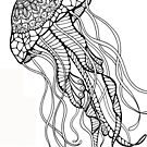 Color Your Own Zentangle Jellyfish Art by BarefootDoodles
