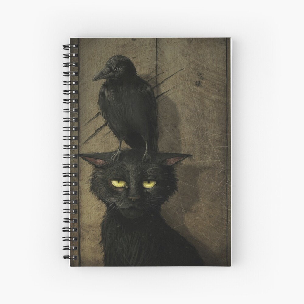 The Raven and the Cat Spiral Notebook