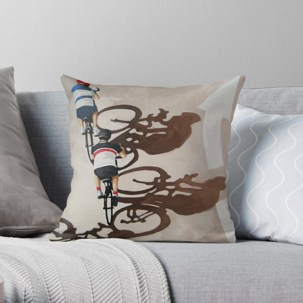 The Cycle Ride 2 - cycling art Throw Pillow