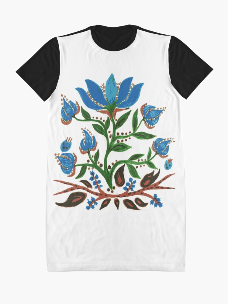 Alternate view of Burst of Blue Flowers Graphic T-Shirt Dress