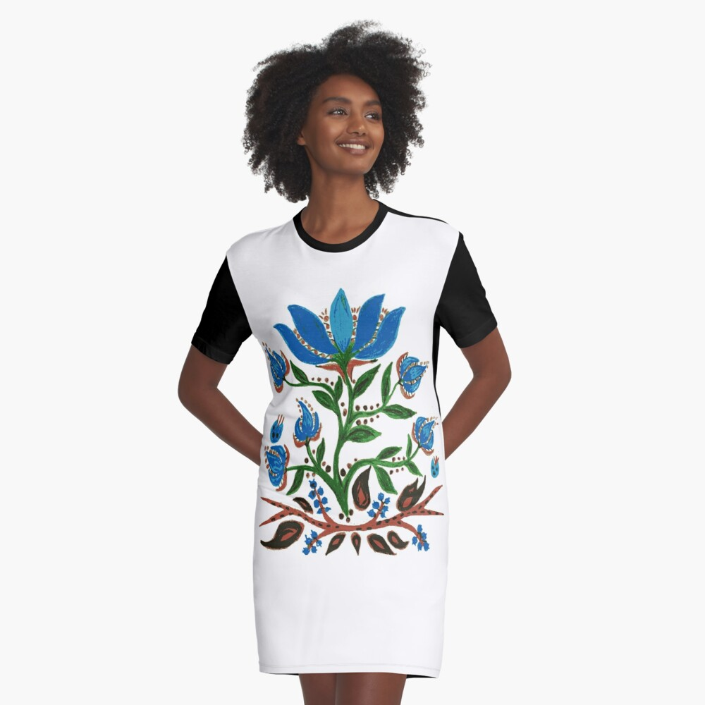 Burst of Blue Flowers Graphic T-Shirt Dress