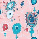 Eliana - sherbert pink colourway - Repeat Pattern by emshannonart