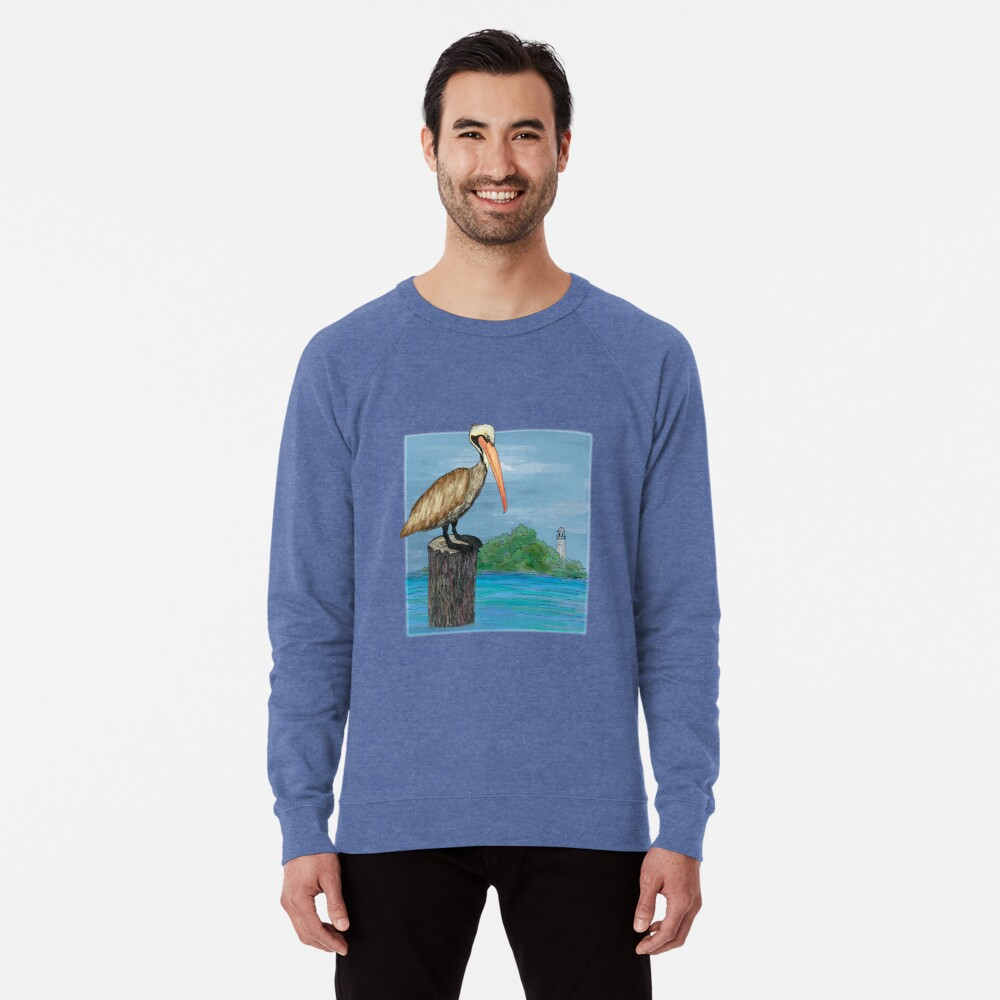Brown Pelican At Sea With Lighthouse Lightweight Sweatshirt