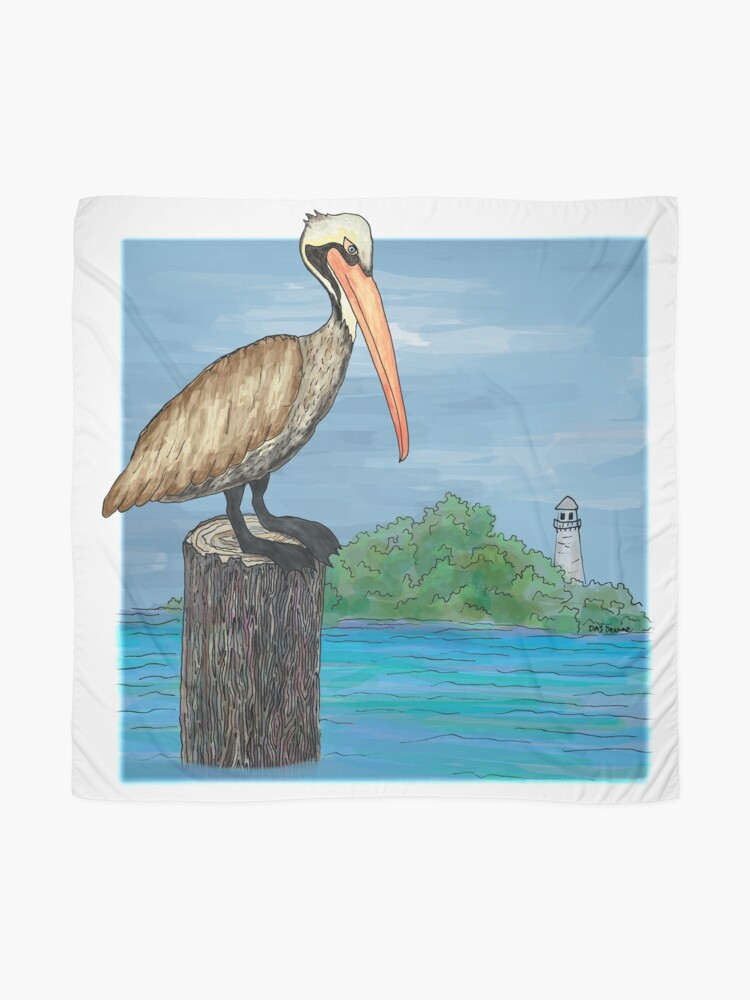 Alternate view of Brown Pelican At Sea With Lighthouse Scarf