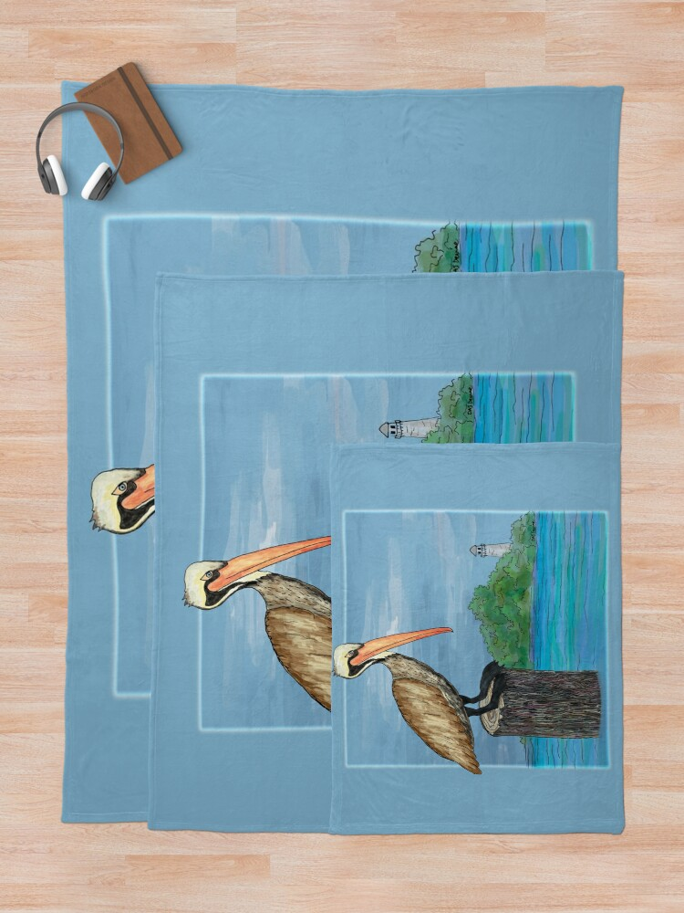 Alternate view of Brown Pelican At Sea With Lighthouse Throw Blanket