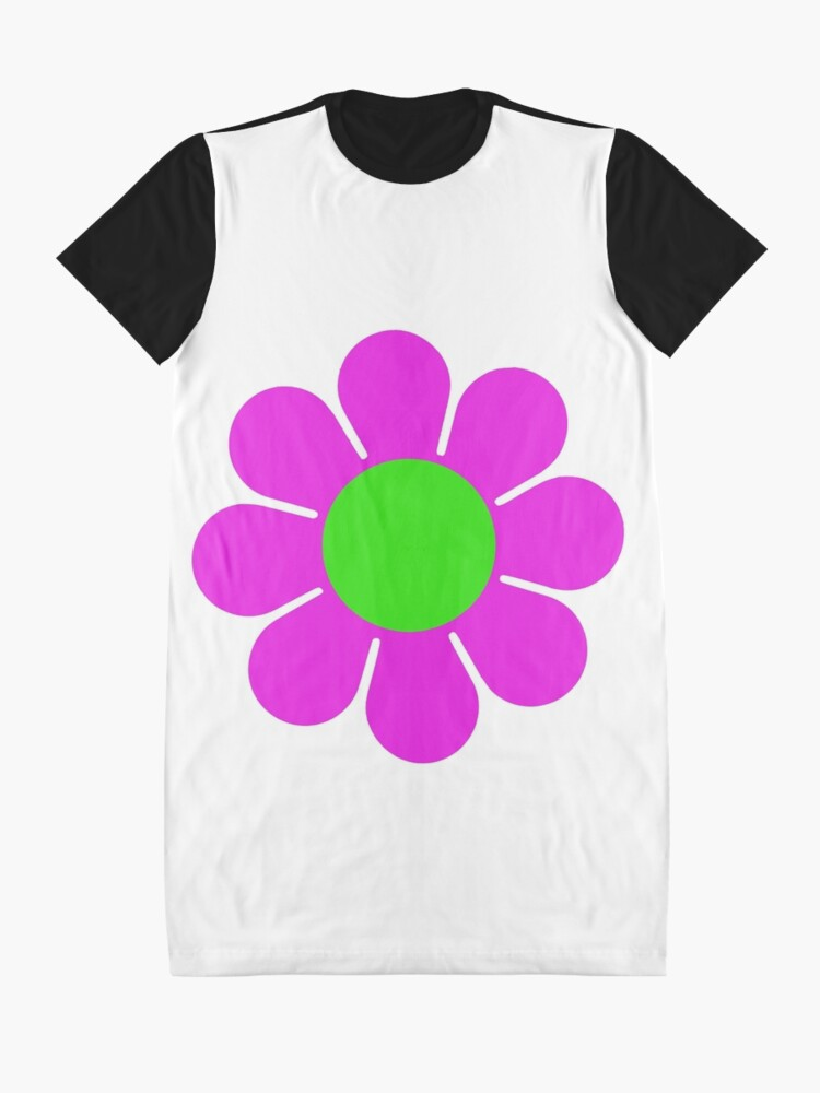 Alternate view of Pink Green Hippy Flower Daisy Graphic T-Shirt Dress