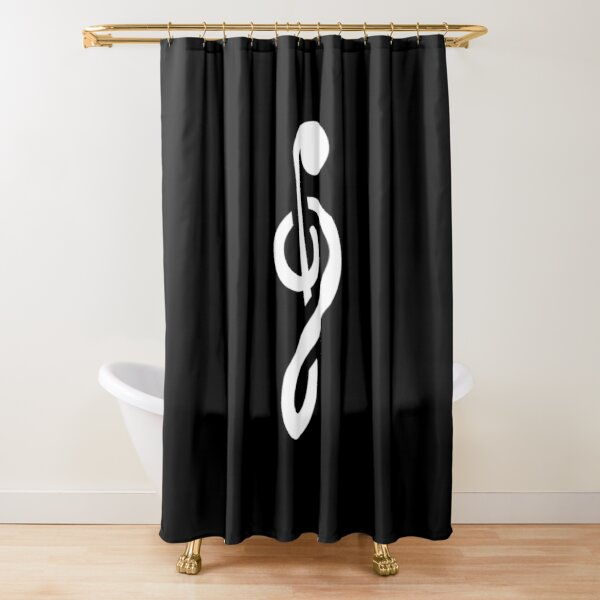 Upside-down G-clef Shower Curtain