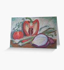 Pepper,Tomato and Onions Greeting Card