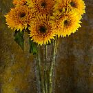 Double Sunflowers in a Glass Vase by Ann Garrett