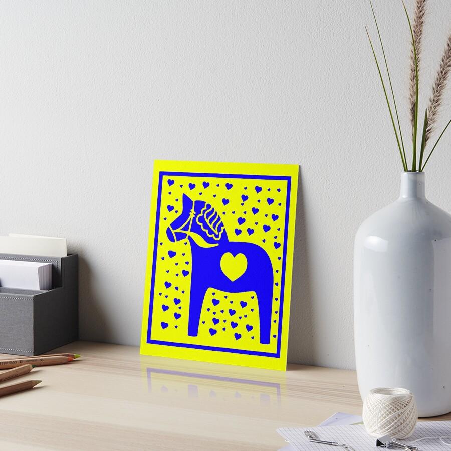 Schwedische Dala Horse Blue Stamped Look Galeriedruck