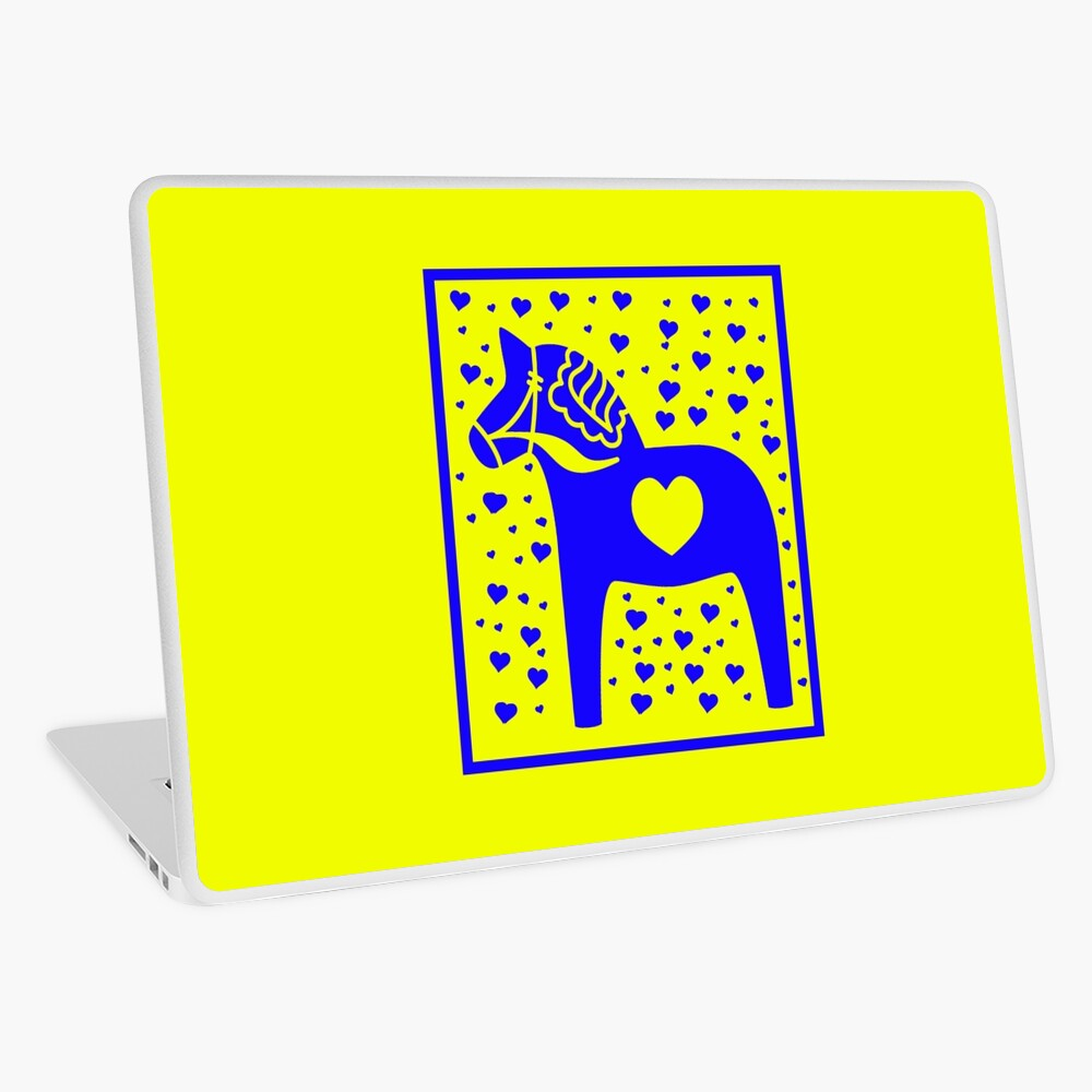 Schwedische Dala Horse Blue Stamped Look Laptop Folie