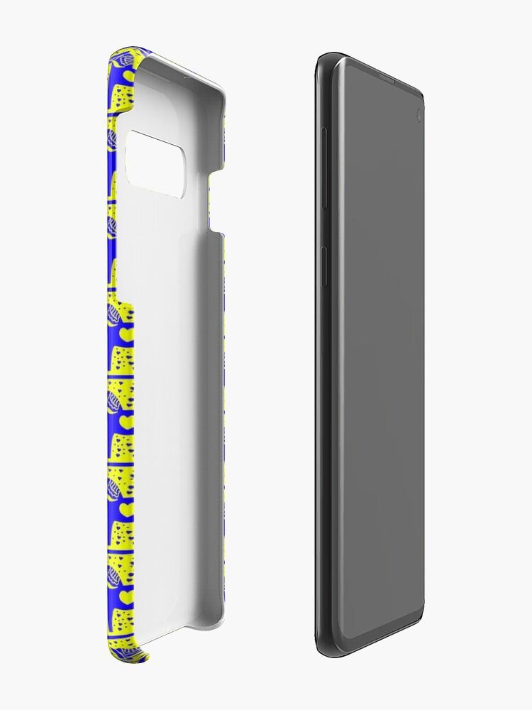 Alternative Ansicht von Schwedische Dala Horse Blue Stamped Look Hüllen & Klebefolien für Samsung Galaxy